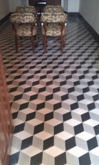 Encaustic tiles in a geometric design, available from Alhambra Tiles in London