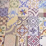 Patchwork patterned encaustic tiles from Alhambra Tiles