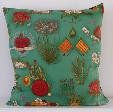 Frida Kahlo Cushion Cover (Green)
