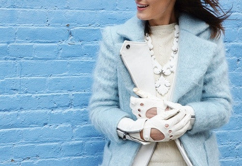 Five days, five looks, five gloves... winter white with a touch of leather