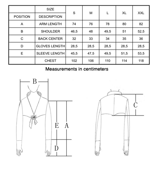 Gloves Bolero Sizing Chart by Ines Amsterdam