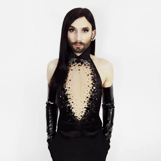 Conchita Wurst wears Glossy Extra Long Leather Gloves by Ines at the Sydney Opera House