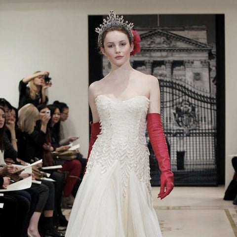 Wedding gloves bride opera red