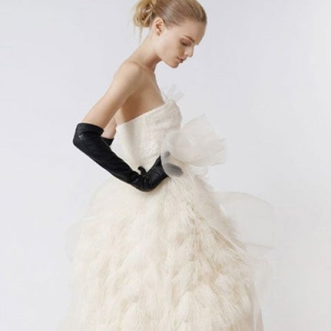 Ines wedding leather gloves black opera vera wang