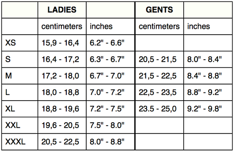 Sizing Chart Ines Leather Gloves