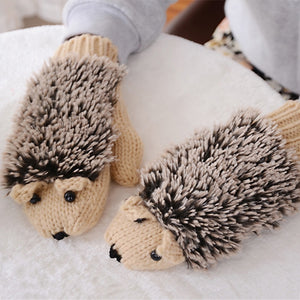 Winter Autumn Women Girl Solid Pink Gloves Cartoon Cute Winter Gloves Female Net Fitness Gloves Hedgehog Fluff Heating