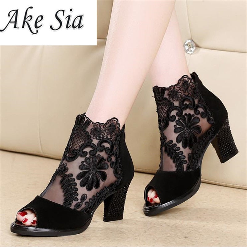 Summer mesh Peep Toe sandals sexy heels single shoes women shoes in Europe and America 2018 spring and summer gauze mujer