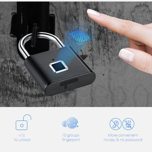 Golden Security Keyless USB Rechargeable Door Lock Fingerprint Smart Padlock Quick Unlock Zinc alloy Metal Self Developing Chip