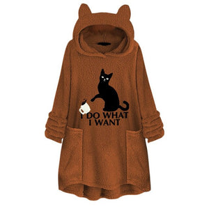 Cat Print Long Hoodies Sweatshirt Women Fleece Warm Embroidery Pocket Pullovers Cat Ear Plus Size Hoodie Top Blouse Sweat Femme