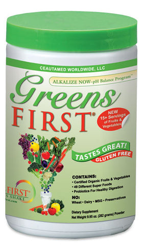 "Greens First Superfood is a uniquely easy mixing, pleasant tasting and refreshing ""Superfoods"" powder mix loaded with natural, organic, whole foods and extracts."