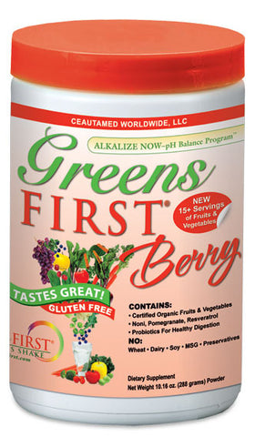 Greens First Berry is perfect source for alkalising your body's pH level for energy & vitality without stimulants.