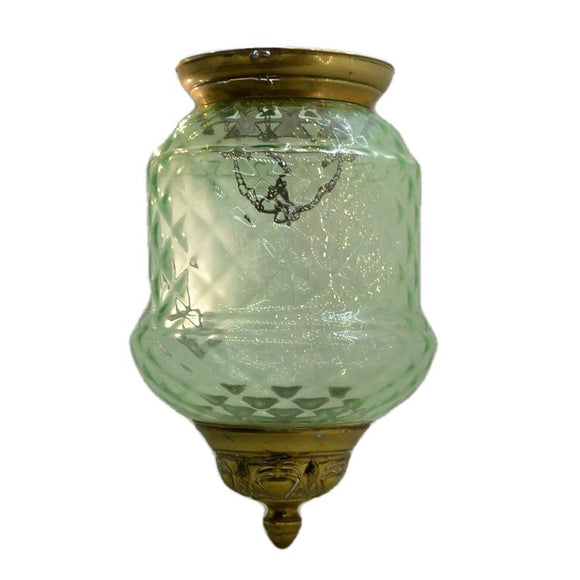 antique green glass hall lantern