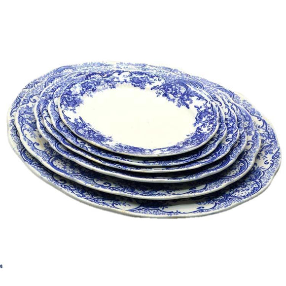 Blue and white antique serving platters
