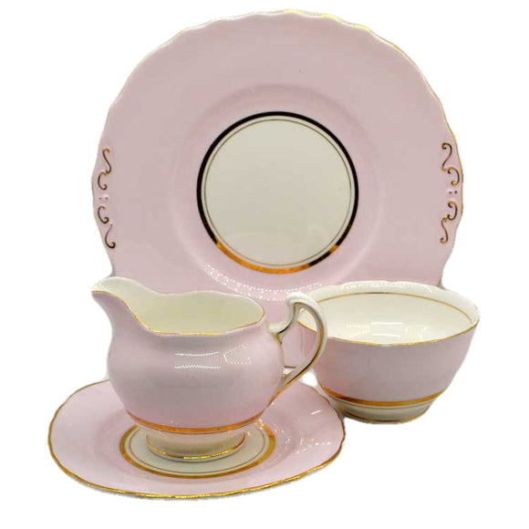 colclough bone china pale pink harlequin