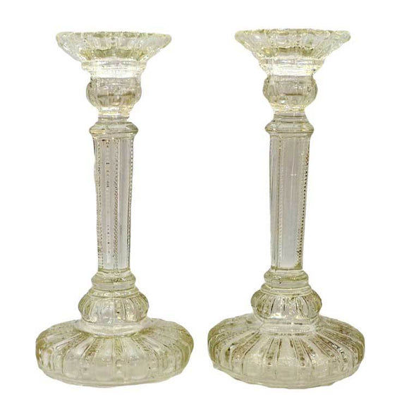 vintage glass candlesticks antique glass candlesticks