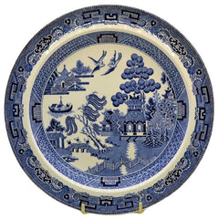 old willow blue and white china plate made in England