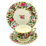 Antique Crown Staffordshire Porcelain 1000 Flowers China Teacup Trio c1913
