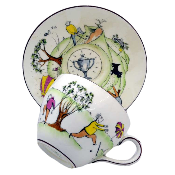 crown stafford golfing trophy 16228 tea cup and saucer