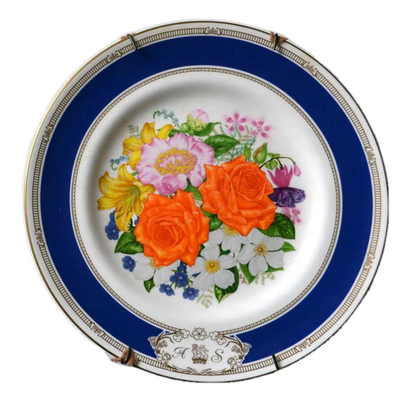 Royal Worcester floral china Plate -1986 Royal Wedding by Stuart Lafford