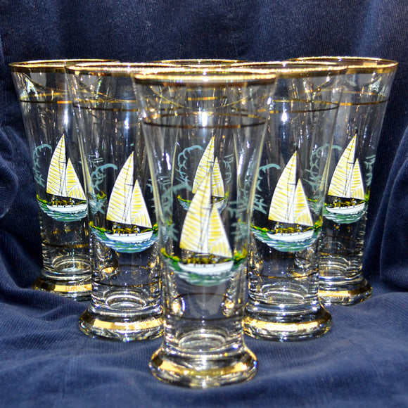 Set of 6 Tall Gilt Rim Sail Boat Larger Glasses