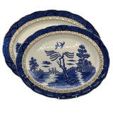 A G Harley Jones Ye Old Chinese Willow Blue and White China large platter c1930