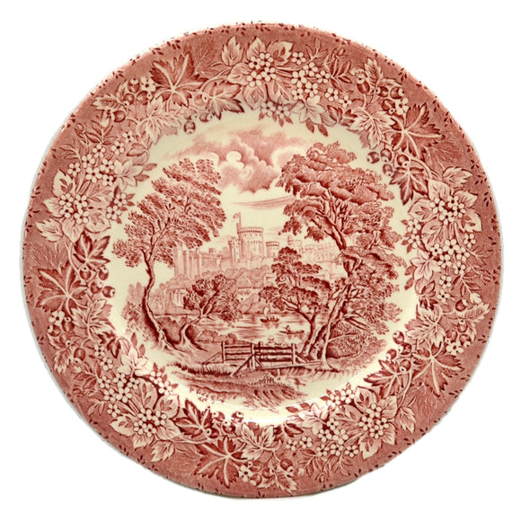 English Ironstone Tableware Castle Series Red and White China Dinner Plate