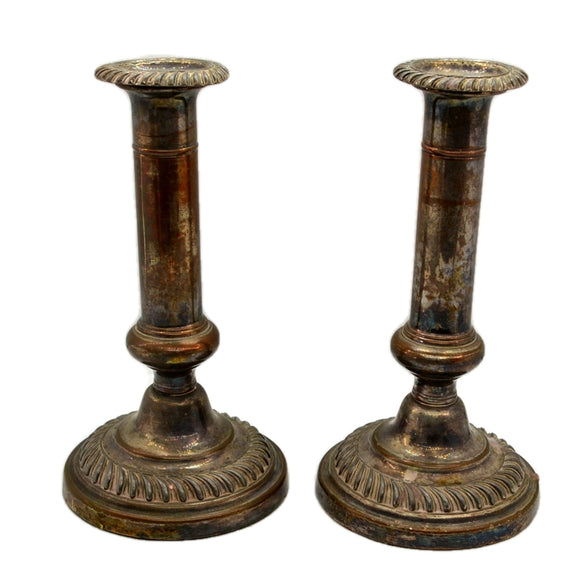 Antique Shabby Chic Copper EPNS Candlesticks