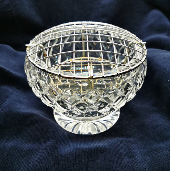 Vintage Lead Crystal Glass Rose Bowl