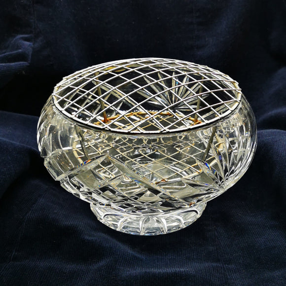 Large Lead Crystal Glass Rose Bowl