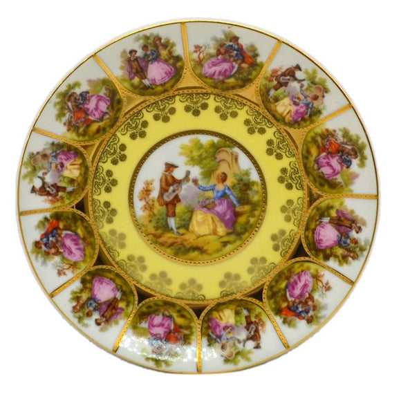 JKW Decor Carlsbad Bavaria China Alt Wein 7.5 Inch Yellow Cabinet Plate