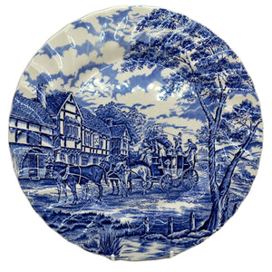 Myott Blue and White china Royal Mail Pattern 10 inch dinner plate
