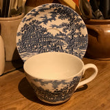 Myott Son & Co Coaching Days large breakfast cup and saucer blue and white china