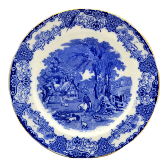 Heathcote Blue and White China Old English Scenery 8-inch Dessert Plate