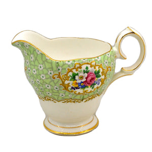 Queen Anne Gainsborough Green Floral China Milk Jug