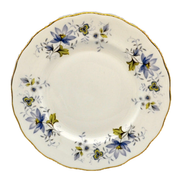 Colclough Rhapsody in Blue  bone china 8.25-inch dessert plate