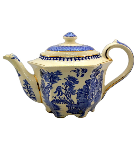James Sadler Blue and White China Willow Teapot