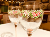 Vintage floral pink stemmed wine glasses sold as a pair