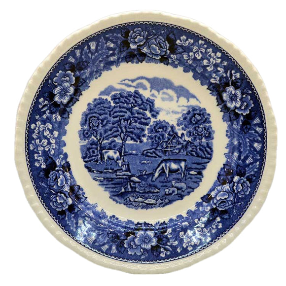 Adams English Scenic Blue and White China 9 inch Plates