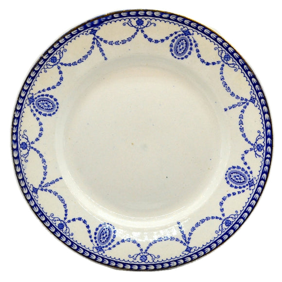 Antique William Adams Medallion Blue and White China Dinner Plate