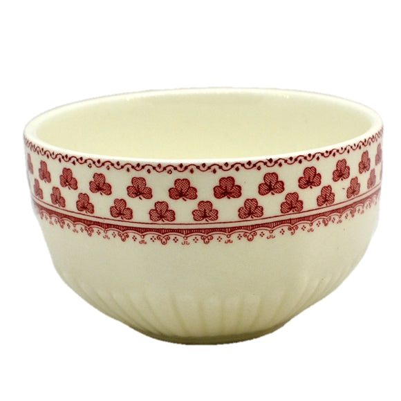 Adams Victoria Red and White China Sugar Bowl