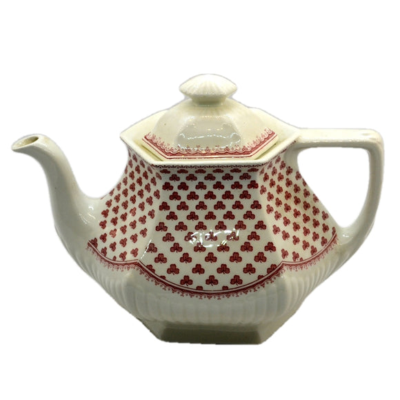 Adams Victoria Red and White China Teapot Glaze Crazed