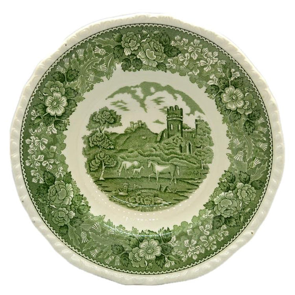Adams English Scenic Green and White China Rimmed Soup Bowls