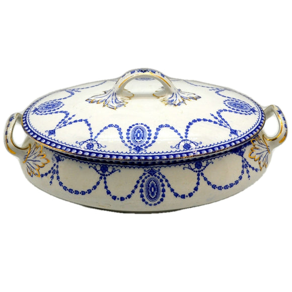 Antique William Adams Medallion Blue and White China Tureen