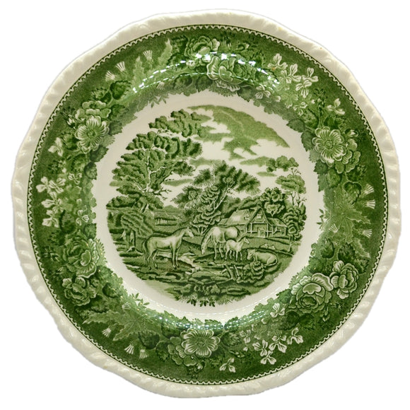 Adams English Scenic Green and White China 10.5-inch Dinner Plate
