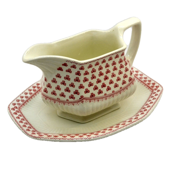 Adams Victoria Red and White China Gravy Jug and Stand