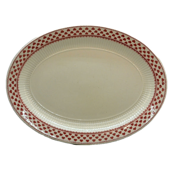 Adams Victoria Red and White china 11.75-inch Oval Serving Platter