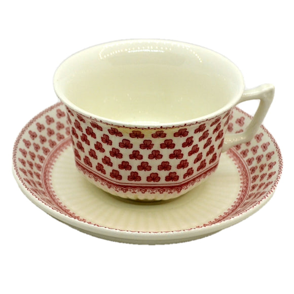 Adams Victoria Red and White China Teacup and Saucer