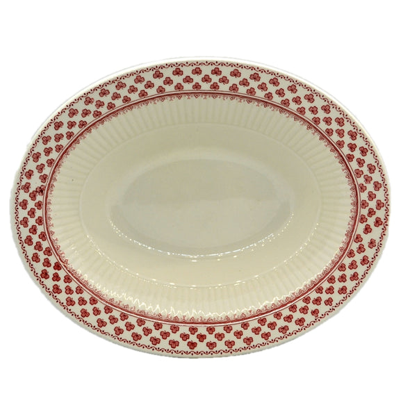 Adams Victoria Red and White china Oval Serving Bowl