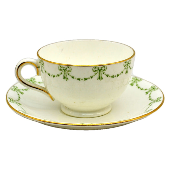 Allertons Ltd Old Englich Green and White China Georgian Teacup and saucer
