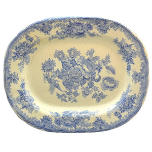 Antique Asiatic Pheasant  Blue and White China Platter